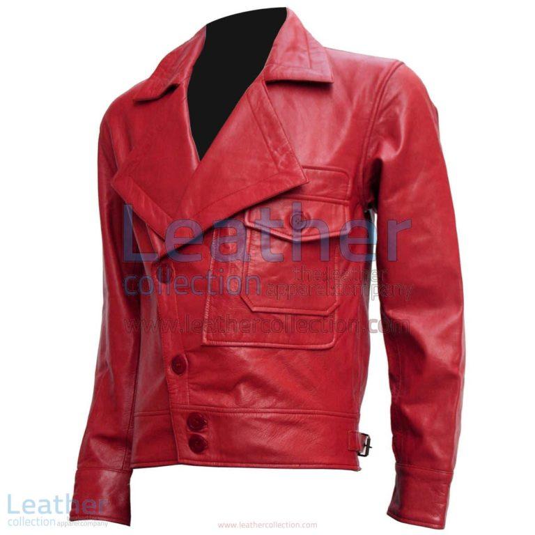 Aviator Red Biker Leather Jacket | red biker jacket,aviator leather jacket