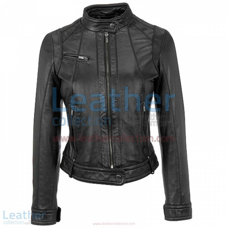 Banded Collar Washed Leather Scuba Jacket in Black | banded collar jacket,leather scuba jacket