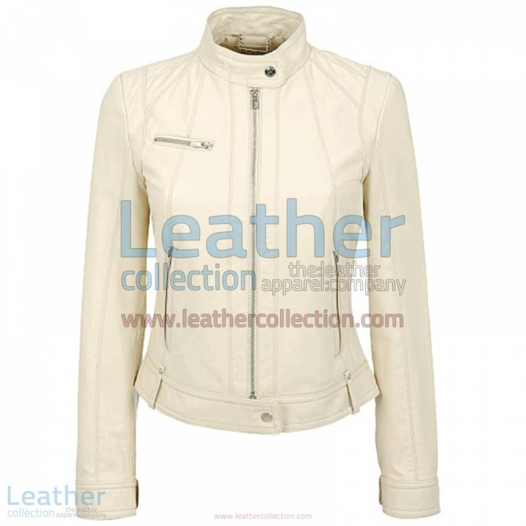 Banded Collar Washed Leather Scuba Jacket in White | washed leather jacket,leather scuba jacket