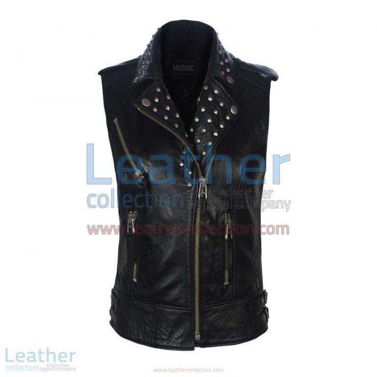 Biker Ladies Leather Studded Collar Vest | studded vest,leather studded vest
