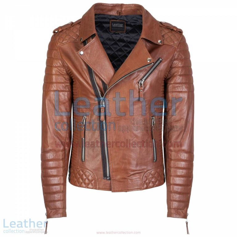 Biker Men Quilted Leather Jacket Antique Brown | quilted leather jacket,men quilted leather jacket