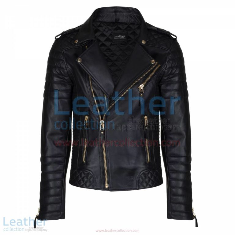 Biker Mens Quilted Leather Jacket with Golden Hardware | quilted jacket,mens quilted leather jacket