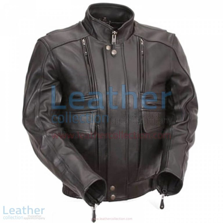 Biker Naked Leather Jacket with Side Stretch Panels | biker leather jacket,naked leather jacket