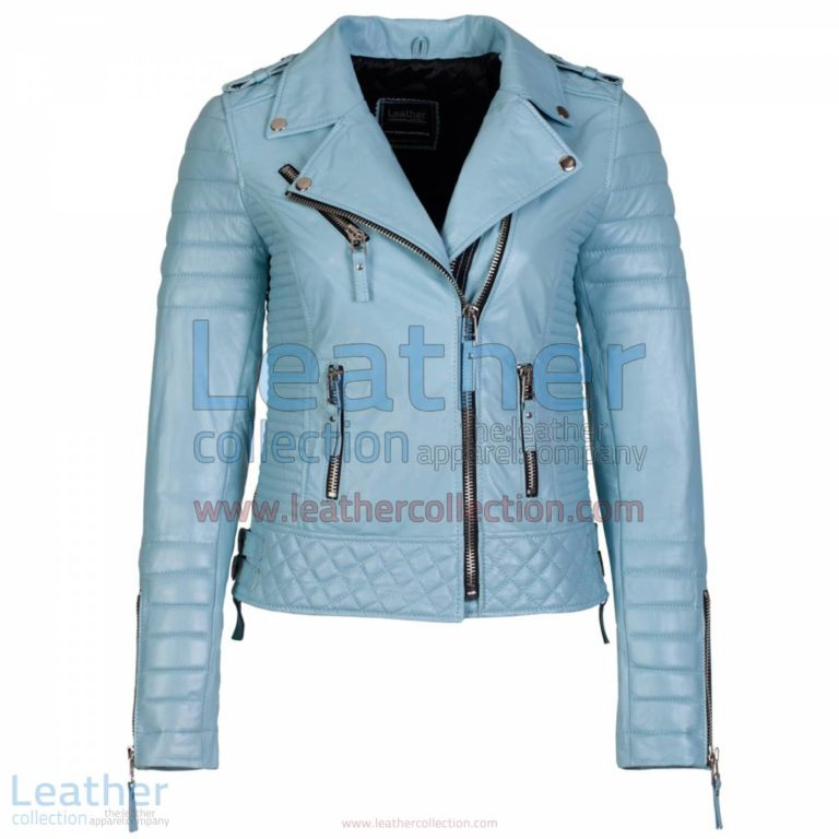 Biker Womens Leather Quilted Jacket Sky Blue | leather quilted jacket,womens leatherquilted jacket