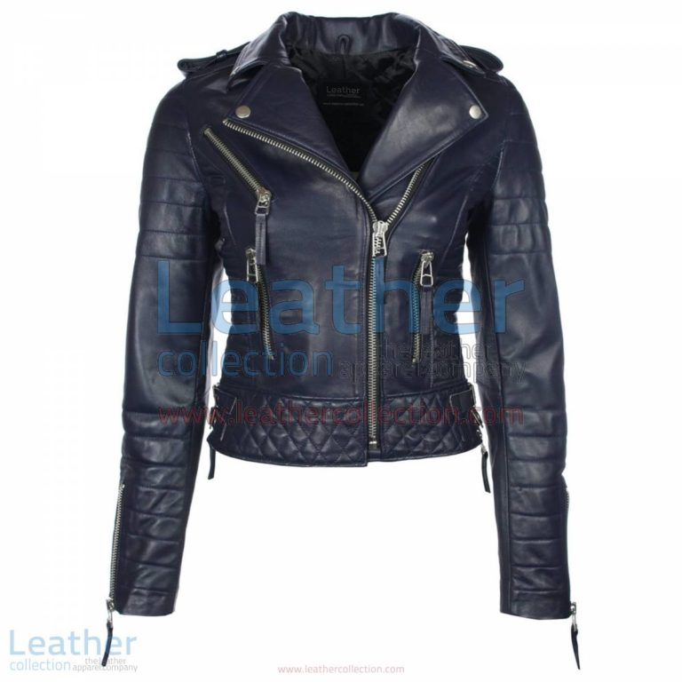 Biker Womens Navy Quilted Leather Jacket | navy quilted jacket,womens quilted jacket