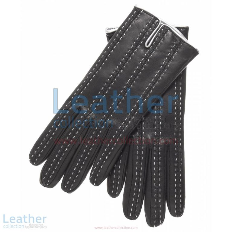 Black Cashmere Lined Leather Gloves Womens | leather gloves womens,cashmere lined leather gloves womens