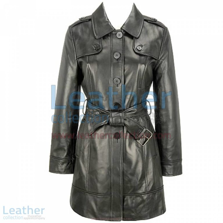 Black Lamb Belted Trench Coat with Thinsulate Lining | black trench coat,belted trench coat