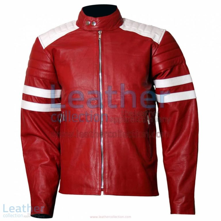 Brad Pitt Fight Club Red Leather Jacket | fight club jacket,brad pitt fight club jacket