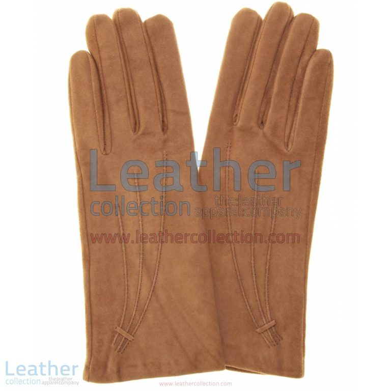 Brown Cashmere Lined Ladies Suede Gloves | brown suede gloves,cashmere gloves