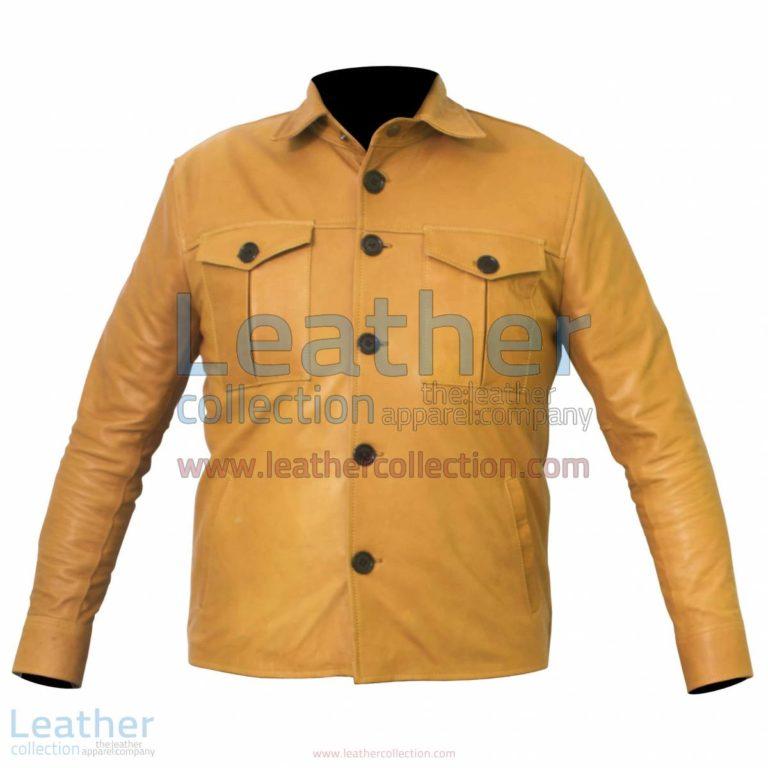 Buttoned Front Lamb Skin Shirt Style Jacket | lambskin jacket,shirt jacket