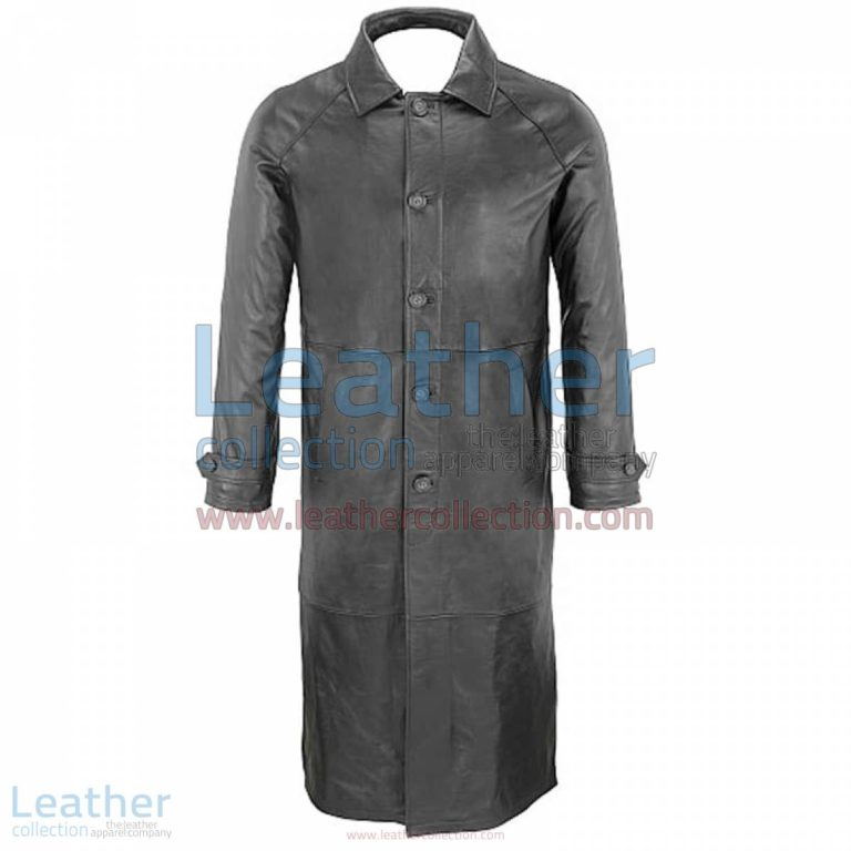 Classic Black Leather Trench Coat | classic trench coat,black leather trench coat