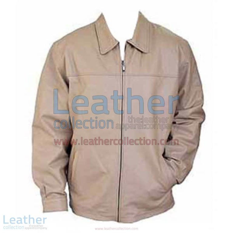 Classic Fashion Mens Beige Leather Jacket | beige leather jacket,mens beige leather jacket