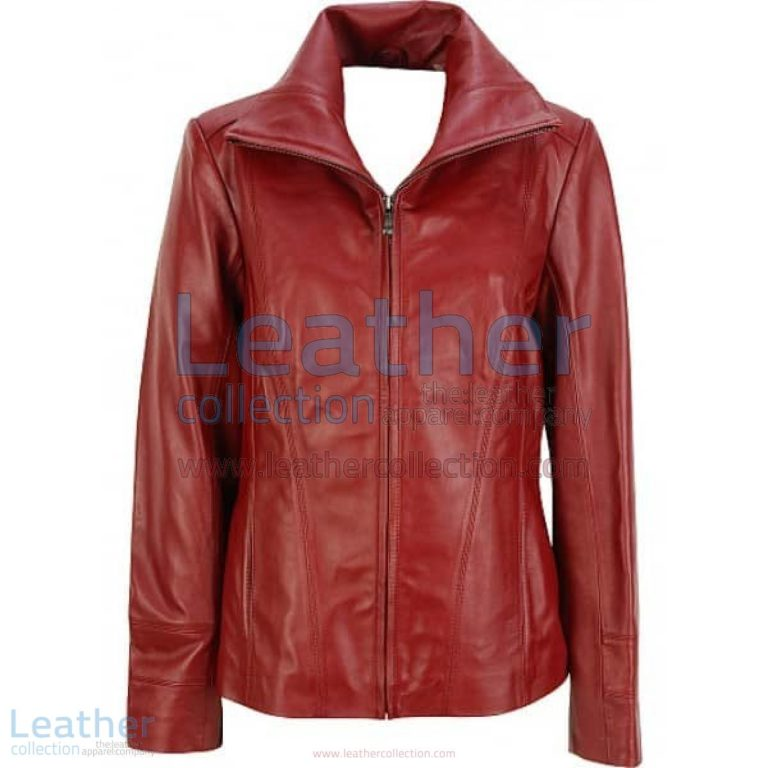 Dark Red Leather Fashion Jacket   red leather jacket,leather fashion jacket