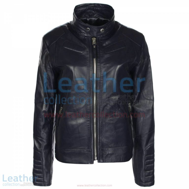 Deuce Classic Navy Biker Leather Jacket   navy jacket,navybiker jacket
