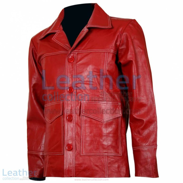 Fight Club Original Red Leather Jacket | red leather jacket,fight club jacket