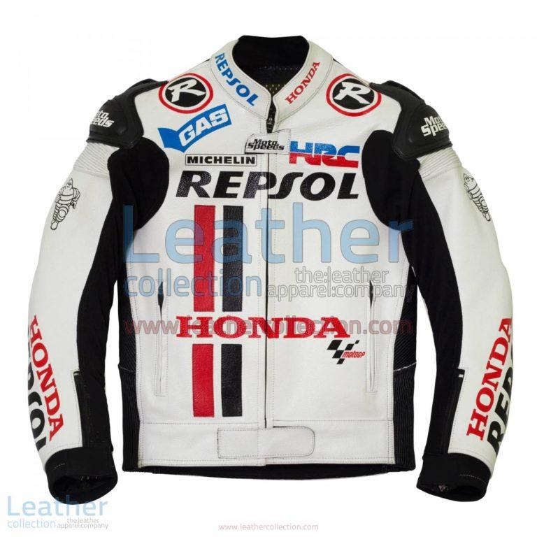 Honda Repsol White Leather Race Jacket | leather race jacket,Honda Repsol jacket
