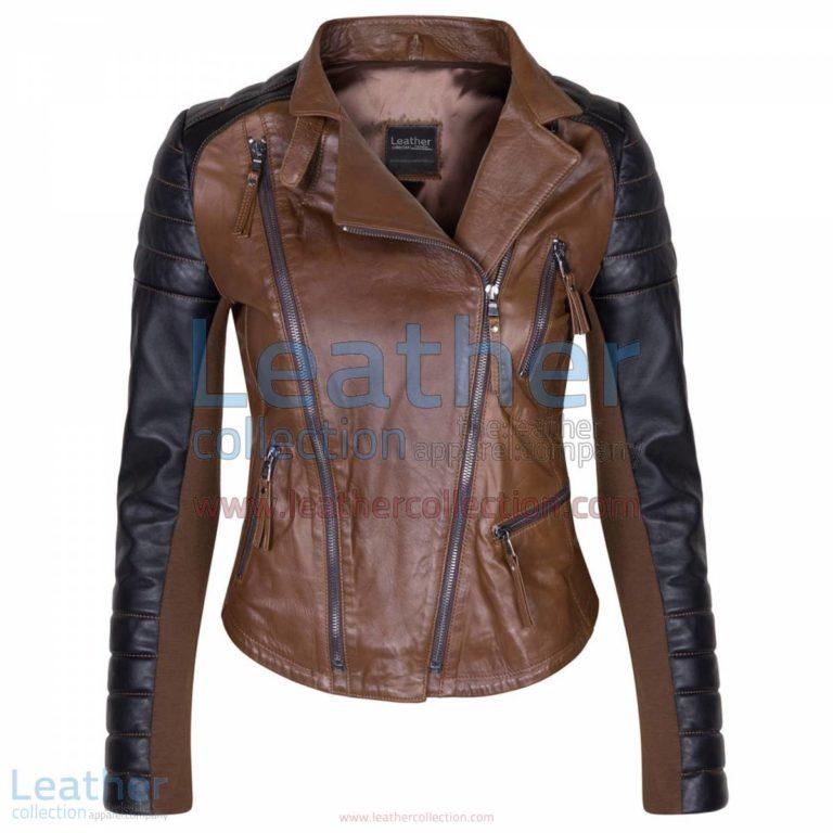 Kelly Ladies Fashion Leather Jacket Black & Brown | ladies fashion,kelly jacket
