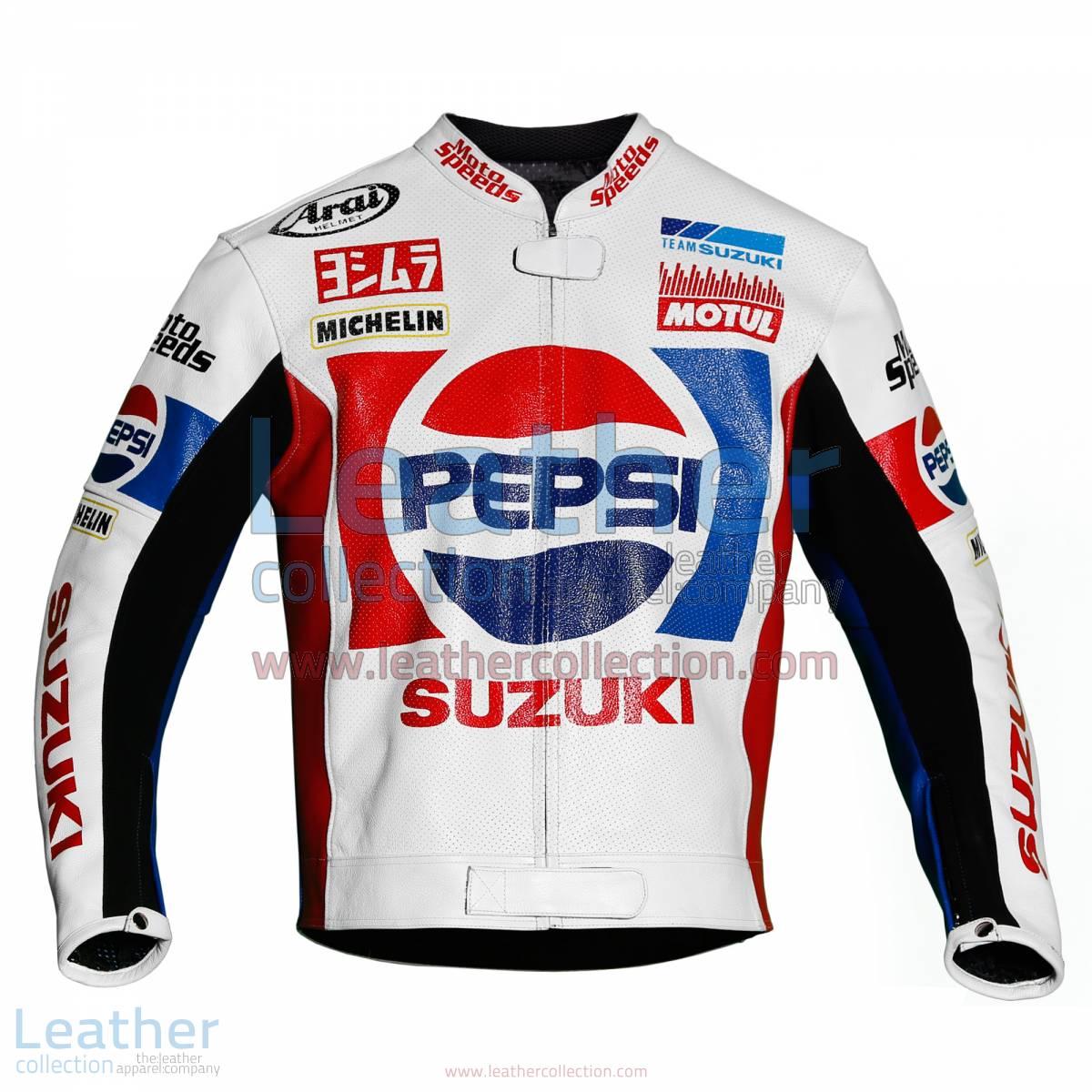Kevin Schwantz Pepsi Suzuki GP 1988 Motorbike Jacket   Kevin Schwantz jacket,Kevin Schwantz Pepsi Suzuki GP 1988 motorcycle Jacket