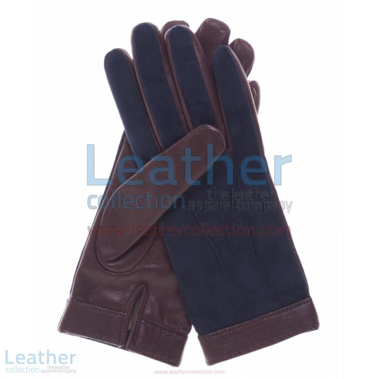 Ladies Blue Suede and Lambskin Gloves | suede gloves,blue suede gloves
