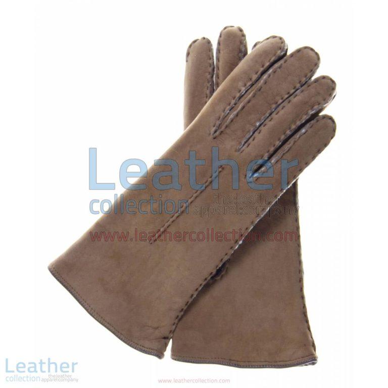 Ladies Brown Suede Lamb Shearling Gloves | suede gloves,brown suede gloves