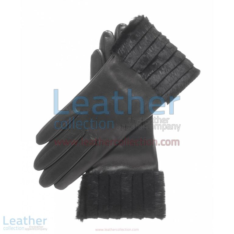 Ladies Fashion Black Fur Cuff Gloves | ladies fashion gloves,fur cuff gloves