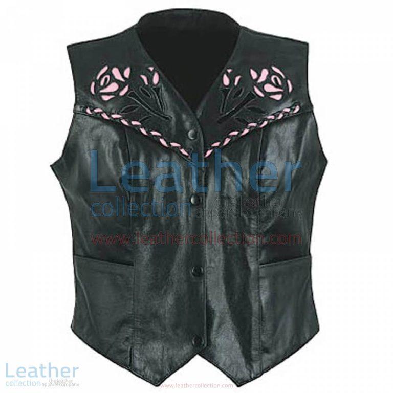 Ladies Rose Leather Vest | ladies vest,rose vest