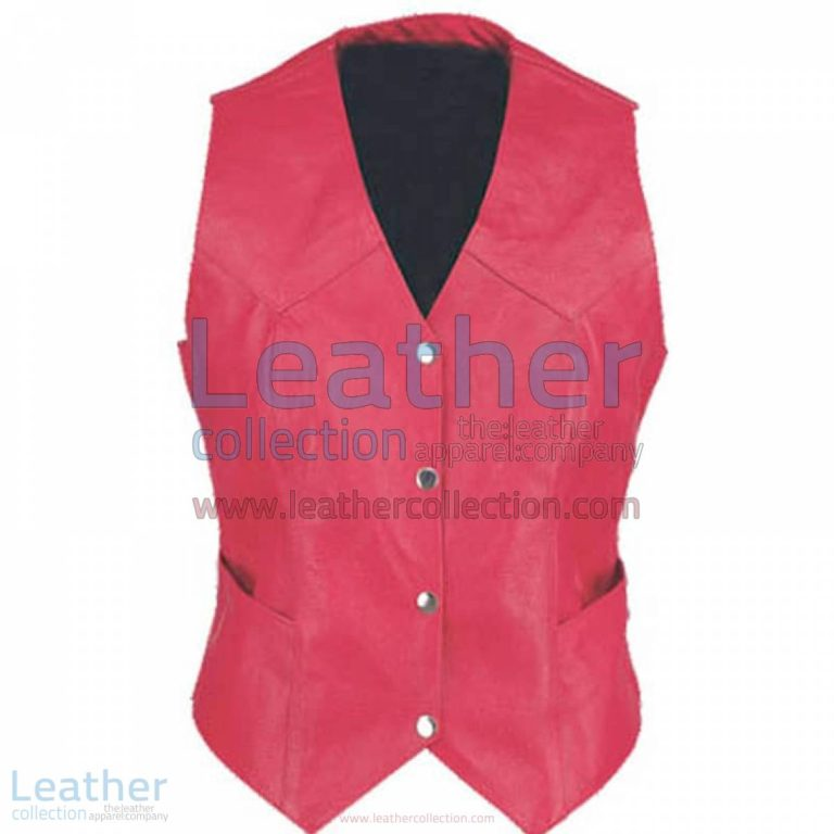 Ladies Vintage Red Fashion Leather Vest | ladies red vest,red leather vest