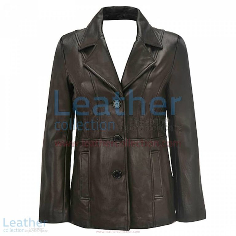 Leather 3 Button Blazer For Women | 3 button blazer,blazer for women