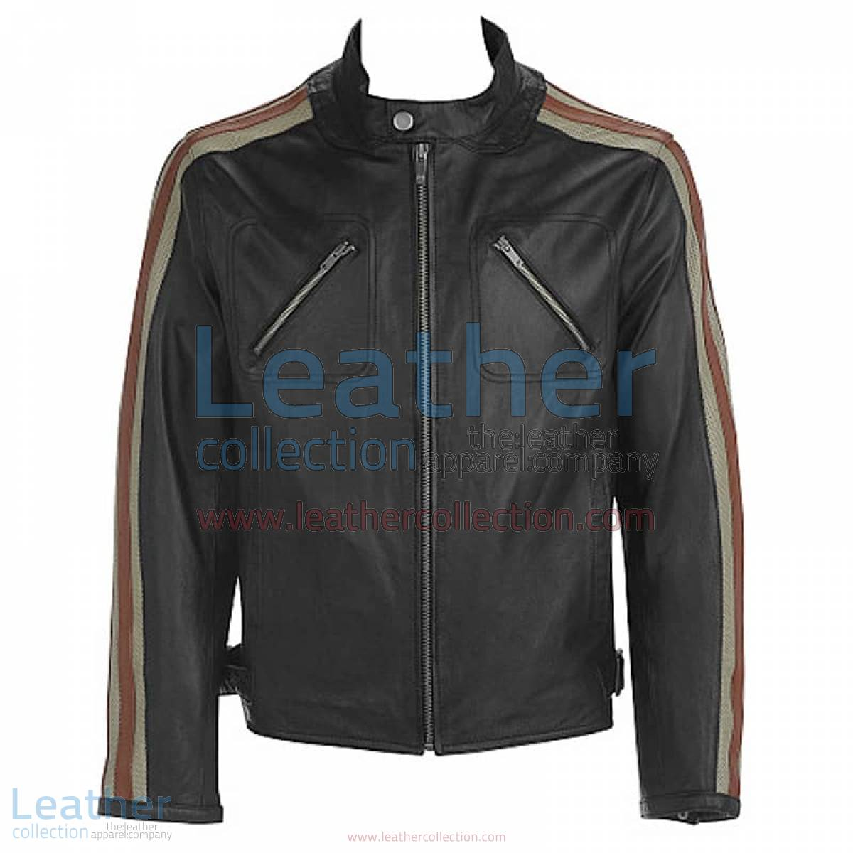 Leather Jacket With Stripes on Sleeves