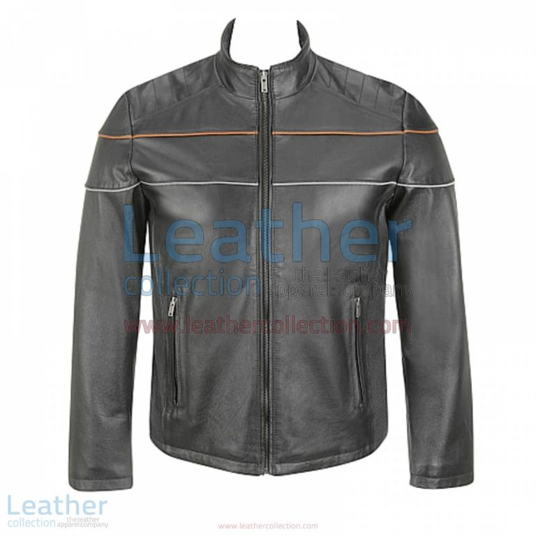 Leather Moto Jacket with Piping on Chest   piping jacket,leather moto jacket