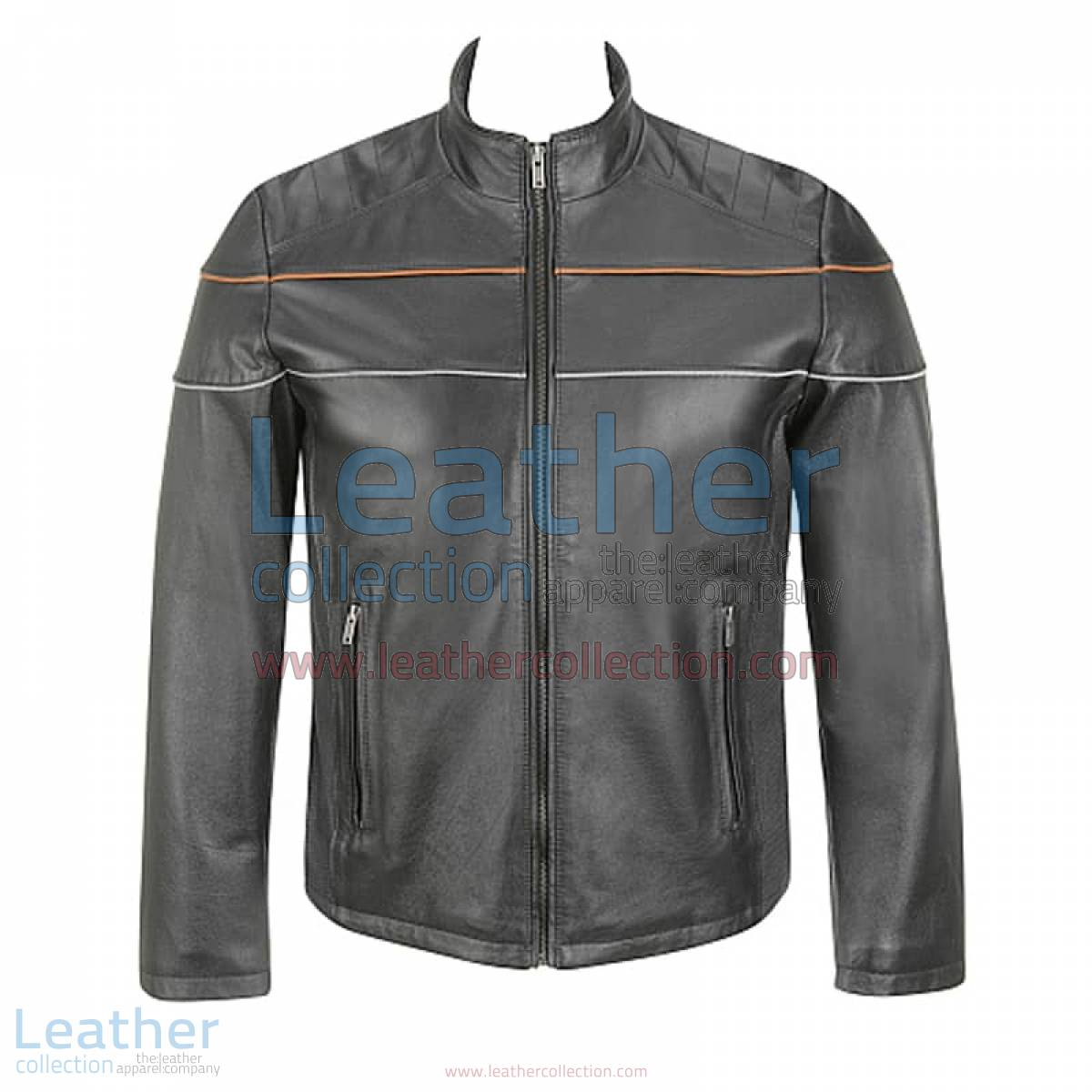 Leather Moto Jacket with Piping on Chest | piping jacket,leather moto jacket