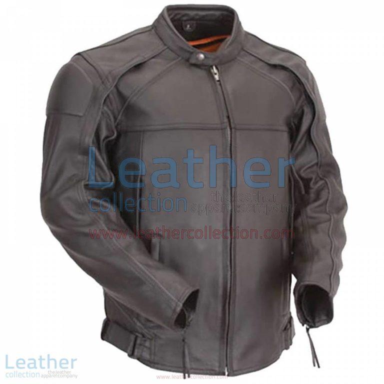 Leather Motorcycle Jacket with Reflective Piping | motorcycle jacket,leather motorcycle jacket