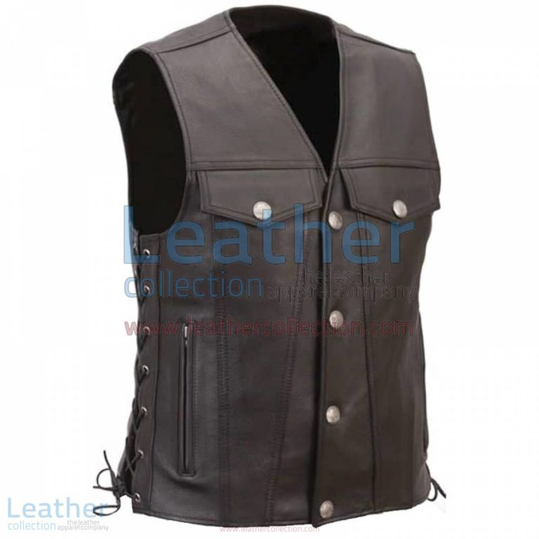 Leather Motorcycle Vest with Buffalo Nickel Snaps | leather motorcycle vest,motorcycle vest