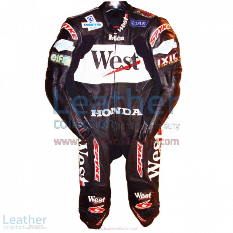 Loris Capirossi Honda GP 2001 Motorcycle Leathers | honda clothing,honda motorcycle leathers