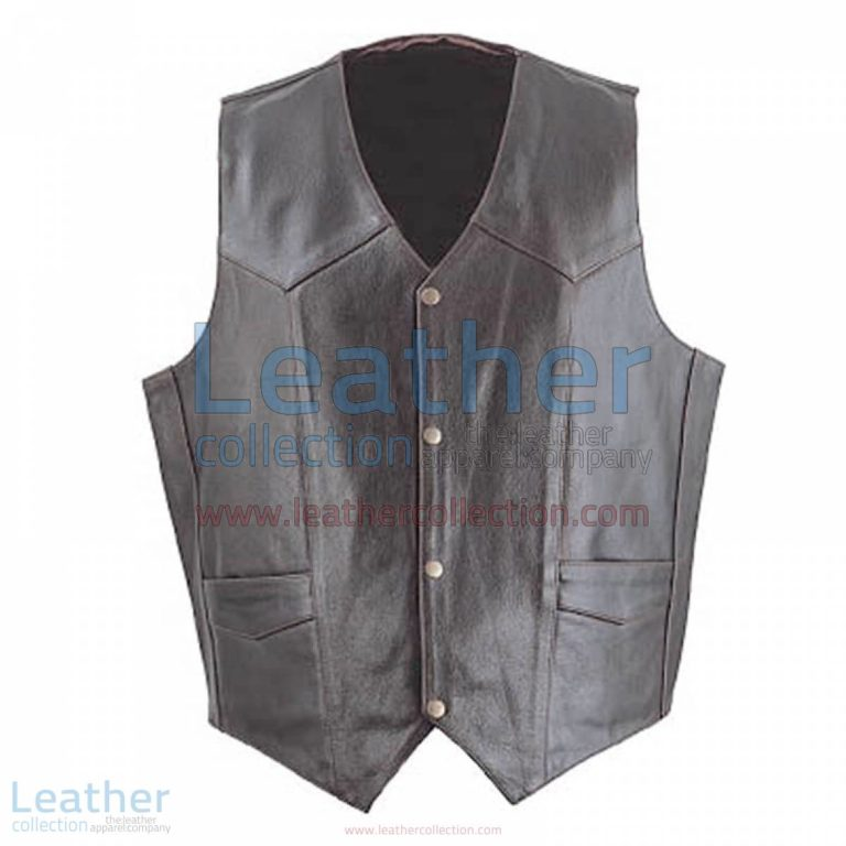 Mens Brown Classic Leather Vest | mens brown vest,classic vest