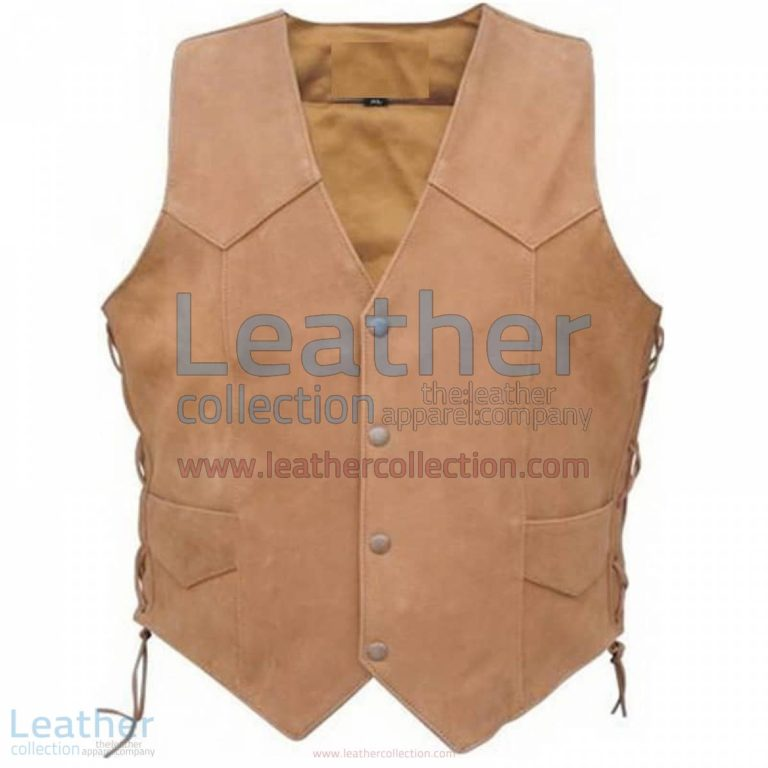 Men's Side Lace Gun Pocket Leather Vest | side lace leather vest,gun pocket vest