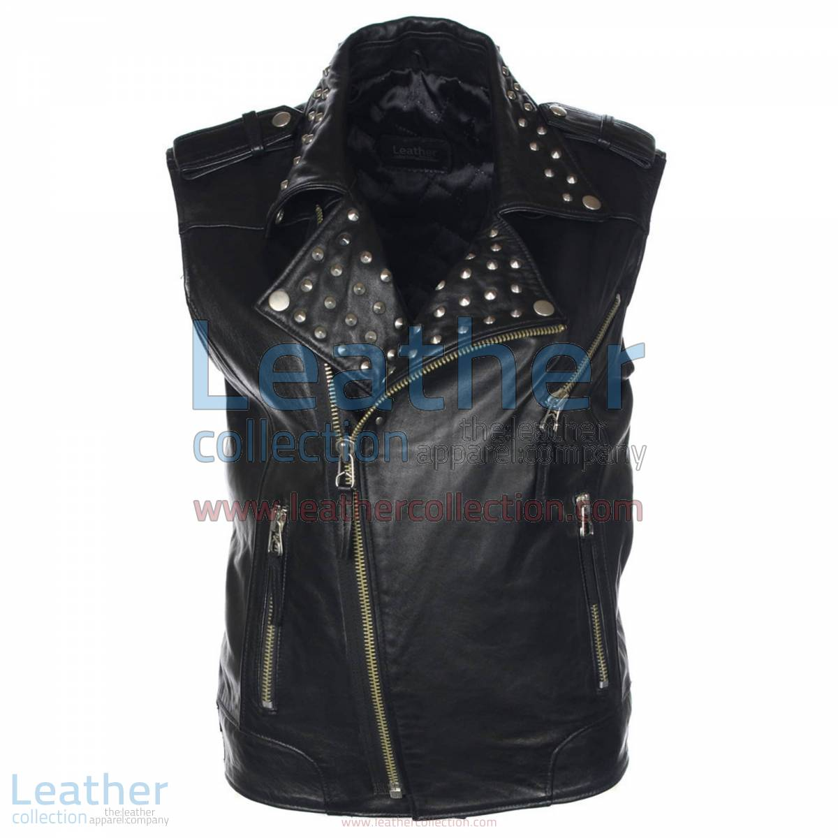 Men Studded Collar Biker Leather Vest | studded leather vest,studded vest