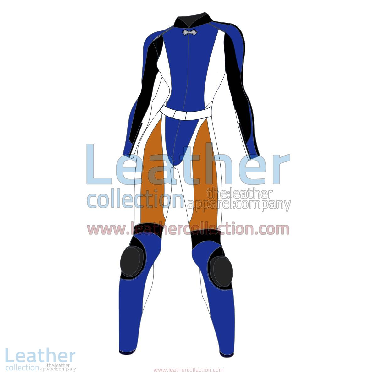 Quad Color Two-Piece Motorbike Leather Suit For Women