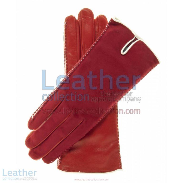 Red Suede Ladies Lambskin Gloves | ladies lambskin gloves,red suede gloves