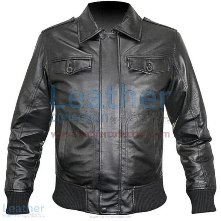 Rib Knit Retro Leather Jacket | leather jackets,retro leather jacket