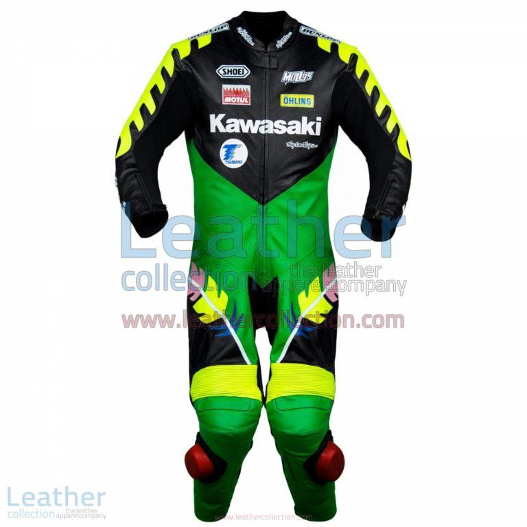 Scott Russell Kawasaki GP 1993 Leather Suit   kawasaki clothing,kawasaki leather suit