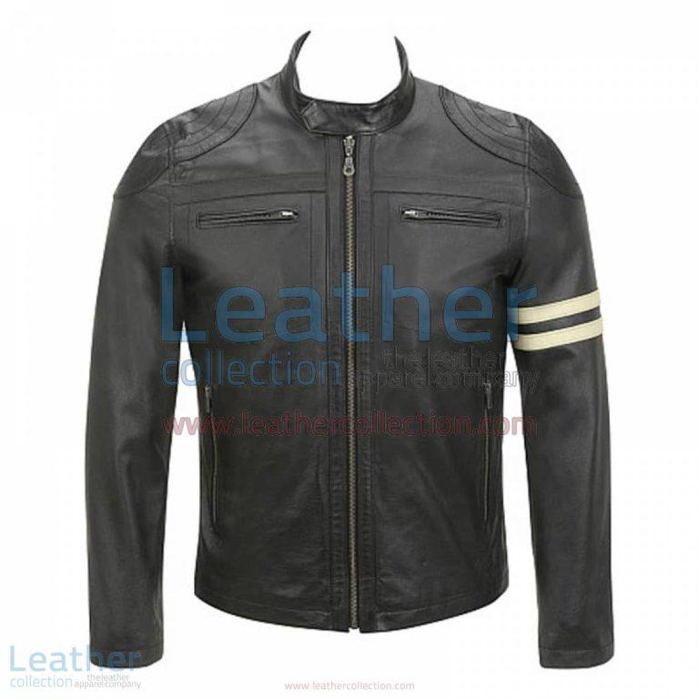 Semi Moto Stripes Leather Jacket   stripes jacket,leather jacket