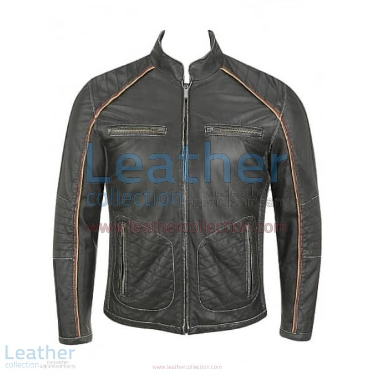 Semi Motorbike Casual Leather Piping Jacket | casual jacket,piping jacket
