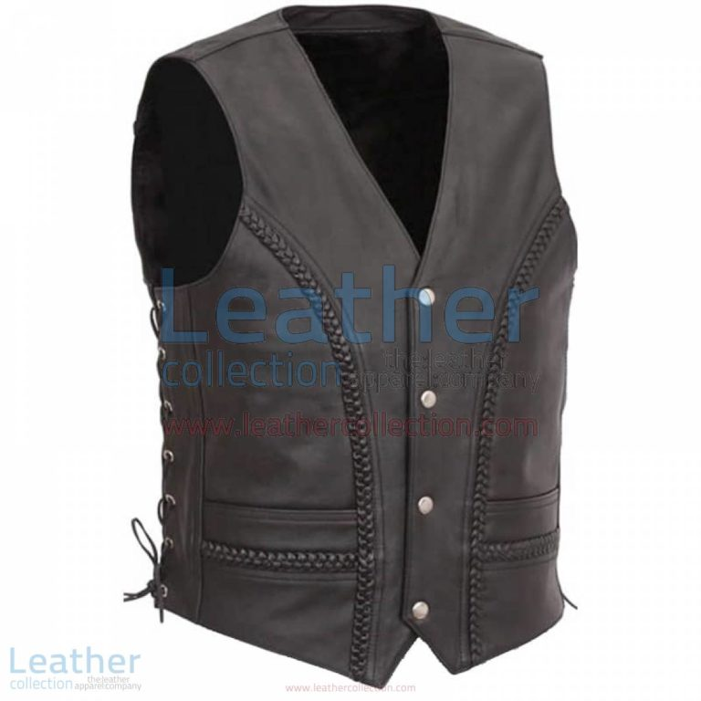 Side Lace & Braided Details Leather Vest | leather vest,side lace leather vest