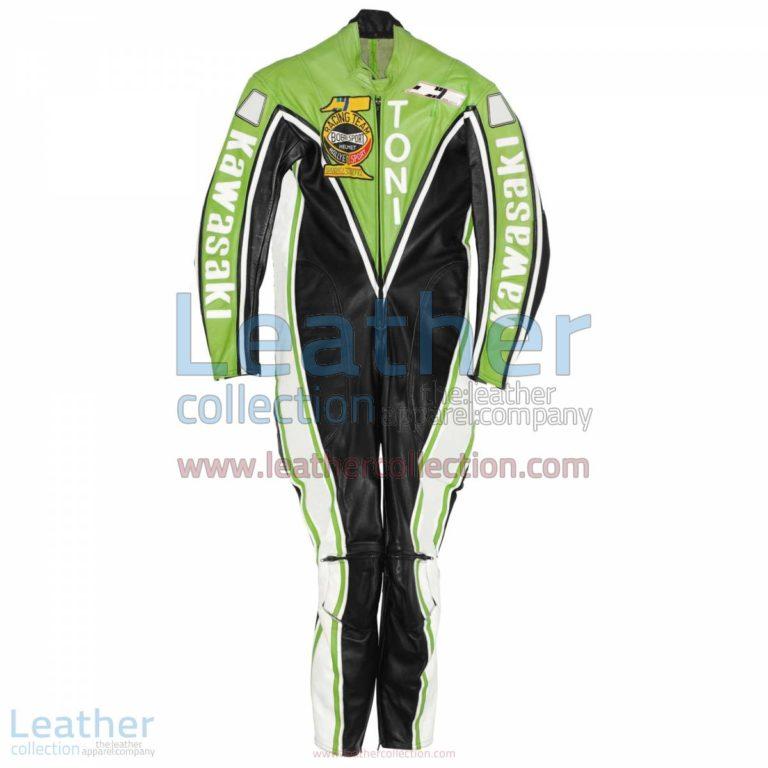 Toni Mang Kawasaki GP 1982 Leather Suit   kawasaki motorcycle apparel,kawasaki leather suit