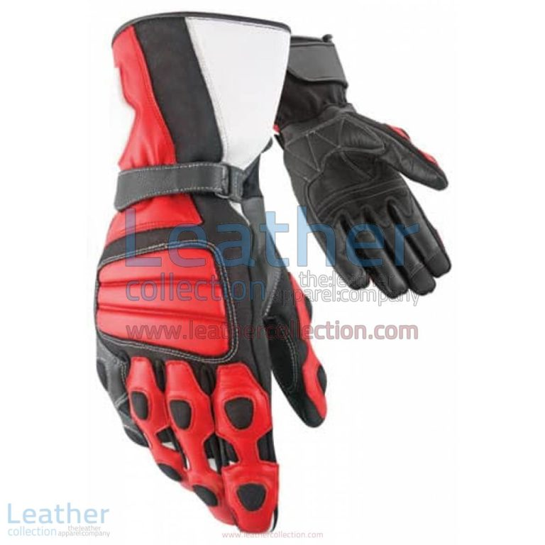Tourist Red Leather Moto Gloves | leather moto gloves,moto gloves