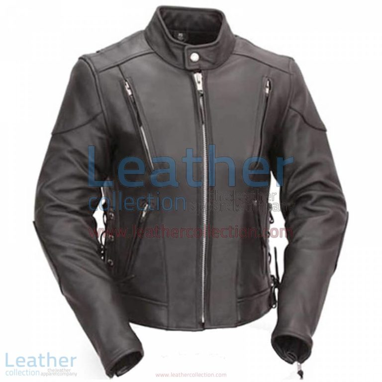 Vented Leather Scooter Style Jacket with Side Laces | vented jacket,vented leather jacket