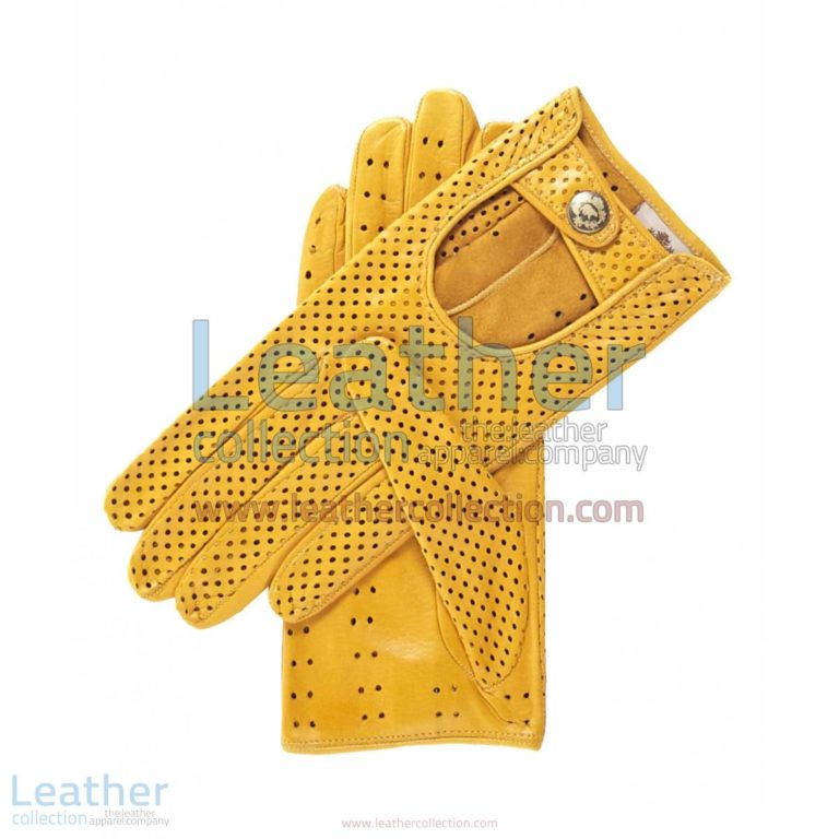 Ventilated Yellow Driving Gloves Ladies | ladies driving gloves,yellow driving gloves