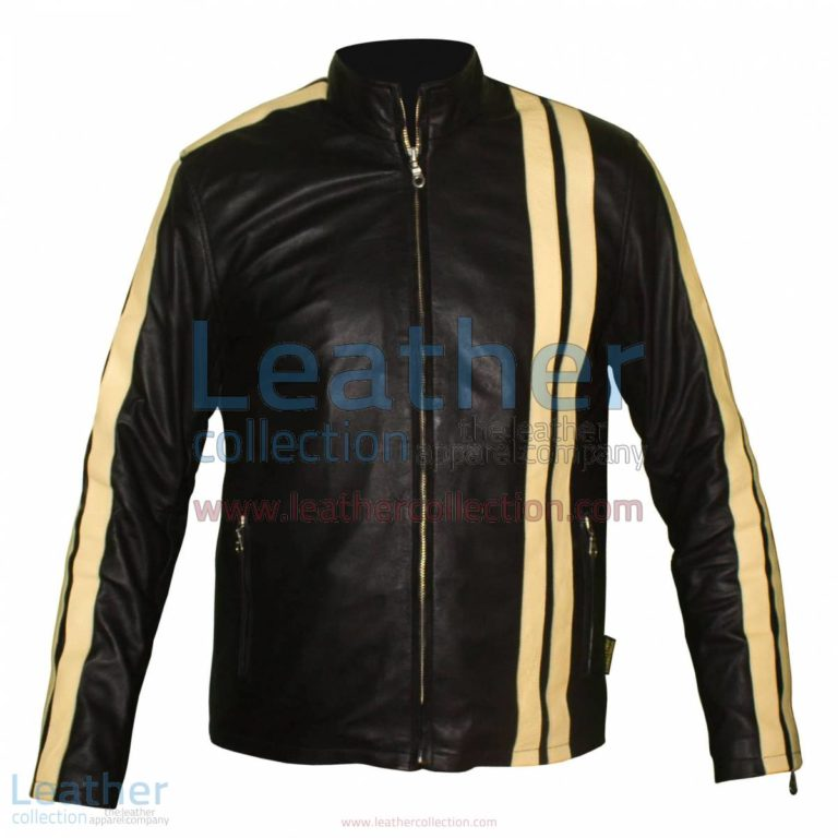 Vertical Stripe Jacket of Leather | jacket of leather,stripe jacket