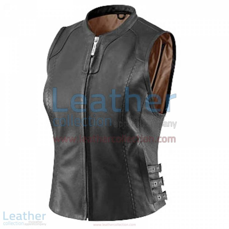 Women's Black Classic Leather Vest | womens black vest,black leather vest